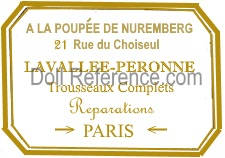 A La Poupée de Nuremberg doll shop mark label, owner La Valee-Peronne