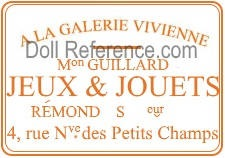 A La Galerie Vivienne Doll Shop label 4. rus N. ve. des Petits Champs, Paris