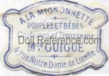 A La Mignonette doll shop mark label, owner G. Guigue