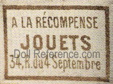 A La Recompense Jouets doll shop mark label (Naudad)
