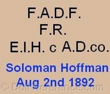 Aetna Doll & Toy Company doll mark FADF FR EIHc AD co Solomon Hoffman Aug 2nd 1892