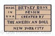 MADE IN USA BETSEY ROSS DESIGN CREATED BY THE AMERICAN DOLL NEW YORK CITY doll mark