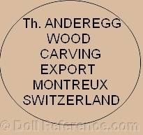 Th. Anderegg Wood Carving Export Montreux Switzerland doll mark