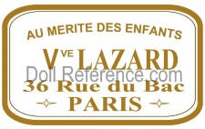 Au Mérite des Enfants doll store mark label Vve. Lazard, 36 Rue du bac Paris