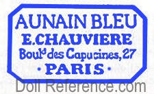 Au Nain Bleu (The Blue Dwarf) dol mark label 27 Boulevard des Capucines, Paris