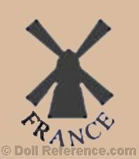 Convert & Company celluloid doll mark windmill symbol France