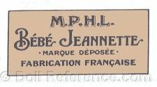 Cortot doll mark M.P.H.L. Bebe Jeannette France
