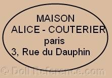 Maison Alice Couterier Paris 3 Rue du Dauphin doll mark