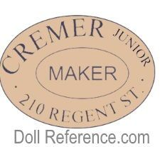 Cremer Junior doll mark label 210 Regent St.