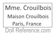 Mme. Crouibois dressed dolls mark label