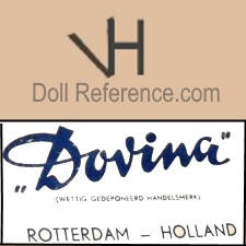Dovina doll mark head Vh, label Dovina Rotterdam-Holland