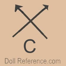 French doll mark 2 crossed arrows symbol C, fake reproduction