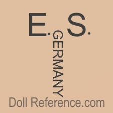 Celluloid doll mark E.S. Germany, small doll house sized dolls