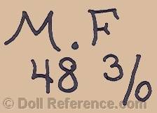 German doll mark M.F 48 3/0