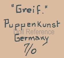 Greif Puppenkunst doll mark Germany 7/0, bisque head by Ernst Heubach
