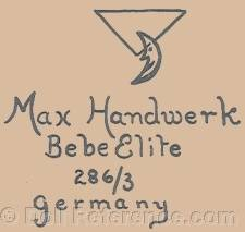 Max Handwerck doll mark triangle, half moon, Bebe Elite 286/3 Germany