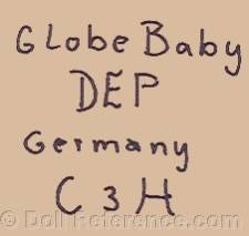 Carl Hartmann doll mark CH, Globe Baby