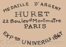 Madame Huret doll mark label No. 22 Boulevard Montmartre Paris