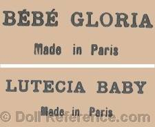 J. César Koch doll marks Bébé Gloria Made in Paris, Lutecia Baby Made in Paris