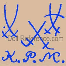 Königliche Porzellan Manufaktur doll marks two crossed swods KPM