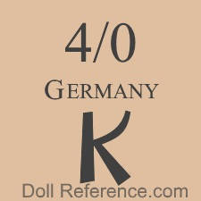 Kreuger doll mark a size number 4/0 GERMANY K