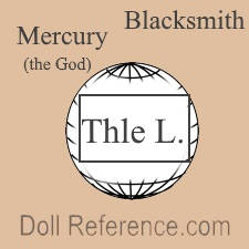 Théophile Lamagnére doll mark God Mercury & blacksmith on globe Thle. L