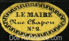 Le Maire doll & toy store label No. 2 Rue Chapon, Paris