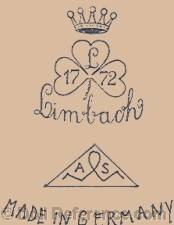 Limbach doll mark crown symbol, three leaf clover symbol 1772 ALS inside a triangle Made in Germany