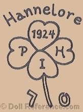 Hermann Pensky doll mark Hannalore four leaf clover symbol 1924 PHI