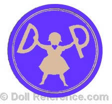 Dr. Dora Petzold doll trade mark with doll in center holding up initials DP inside a circle