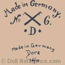 Rauenstein Porzellanfabrik doll mark Made in Gerrmany No. crossed flags 6 • D • Made in Germany Dora 16/0