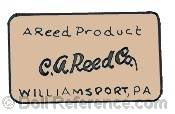 C.A. Reed Company doll mark label A Reed Product C.A. Red Co. Williamsport, PA