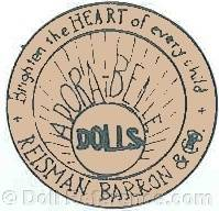 Reisman, Barron & Company doll mark label Brighten the heart of every child Adora-Belle Dolls