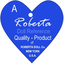 Roberta Doll Company doll mark blue label tag