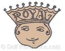 Royal Doll Manufacturing Company doll trade mark Royal on crown with face