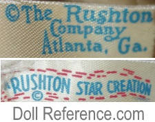 The Rushton Company Atlanta, GA doll mark label Rushton Star Creation