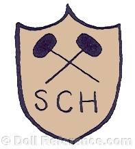 Schmitt et Fils doll mark two crossed hammers SCH on shield