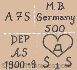 Arthur Schoenau doll marks M.B. Germany 500, DEP AS 1900-9, A inside a heart S1S