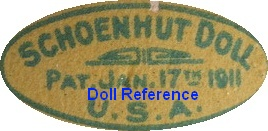 Albert Schoenhut doll mark label Pat. Jan. 17th 1911 U.S.A.