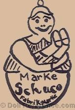 Schreyer & Company doll Marke Schuco Fabrikmarke on a rolly polly doll symbol
