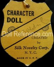 Silk Novelty Corporation doll mark label Character doll on shield