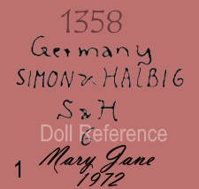 Simon & Halbig doll mark 1358 Germany Simon & Halbig S & H 6 Mary Jane 1972 reproduction