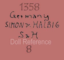 Simon & Halbig doll mark 1358 Germany Simon & Halbig S & H 8 antique