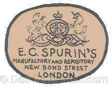 E. C. Spurin Toy Warehouse doll mark label E.C. Spurin's Manufactory and Repository New Bond Street London