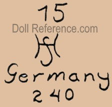 Hermann Steiner doll mark 15 HS Germany 240