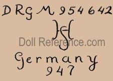 Hermann Steiner doll mark DRGM 954642 HS Germany 947