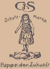 Gebrüder Süssenguth doll mark GS, GESUE, symbol of girl with dol lying on ground in front of her Puppe der Zukunft