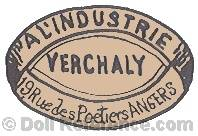 A L'Industrie Verchaly doll mark 19 Rue des Poetiers Angers