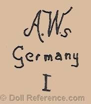 Adolf Wislizenus doll mark AWs Germany I