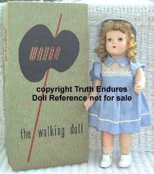 1954-1955 Advance Wanda the Walking Wonder doll, 17-18""